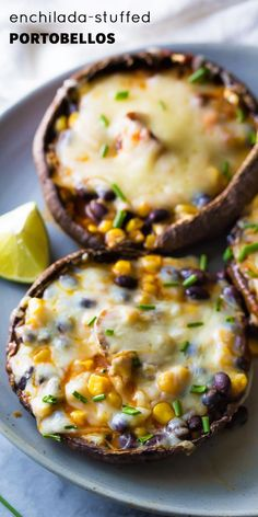 These Enchilada Stuffed Grilled Portobello Mushrooms are an easy vegetarian dinner recipe that is ready in under 25 minutes!