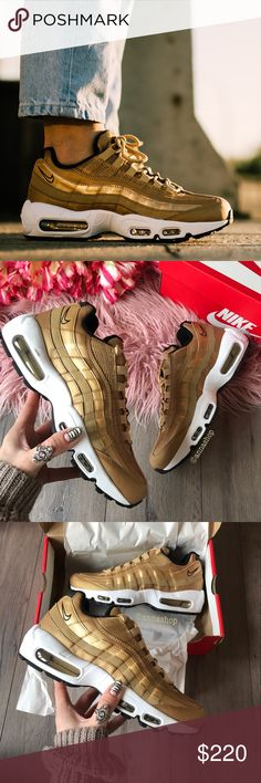 """NWT Nike air max 95 QS gold Brand new with box, sold out everywhere!price is firm! No trades. The Nike Air Max 95 """"Metallic Gold"""" features the side panel waves in a head-turning sheen of 24k opulence to match the mesh upper but interestingly enough skips out on Varsity Red for the ankle Swoosh for a simple Black outline. A clean white midsole unit and hidden reflective 3M also ups the premium factor. Nike Shoes Sneakers"""