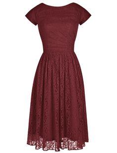 Tideclothes Modern Short Bridesmaid Dress Lace Prom Evening Dress Cap Sleeves Burgundy US2