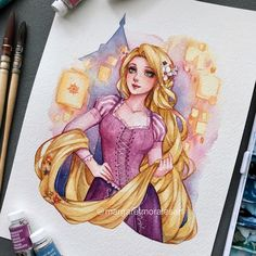 """Rapunzel 💓 One of my favorite characters and the movie is beautiful~ She and Flynn make a cute couple too💛 Disney Princess Drawings, Disney Princess Pictures, Disney Princess Art, Disney Fan Art, Disney Drawings, Disney Princess Paintings, Cartoon Kunst, Anime Kunst, Cartoon Art"
