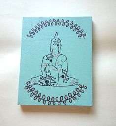 Hippie Bohemian Buddha inspired acrylic canvas painting for fashionable girls room, dorm room, or home decor
