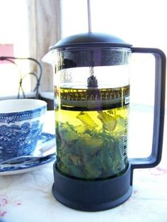 Whoever thought of this was genius! French press for tea!