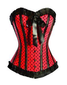 Red & black polkadot corset