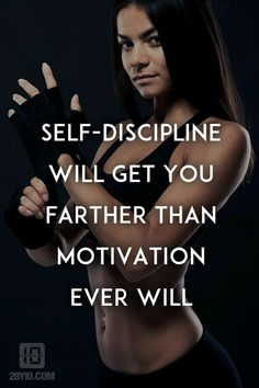 SELF- DISCIPLINE WILL GET YOU FARTHER THAN MOTIVATION EVER WILL. #femalefitnessmotivation #PersonalTrainerQuotes