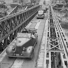 Prime Minister Winston Churchill and General Sir Bernard Montgomery crossing the River Orne over the 'Winston' Bridge, 22 July 1944, Caen (rw)