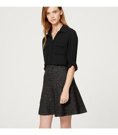 Roll tab sleeves give this refined essential its modern attitude. Collared. Long sleeves. Button front. Flap patch pockets. Button-through roll tabs at sleeves. Button cuffs. Shirttail hem. Gathered beneath back yoke.