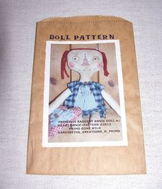 Primitive Raggedy Annie Doll Pattern, Heart Ornie Pattern J512, Sewing Pattern…