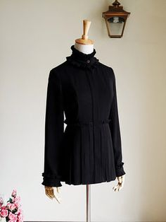 Gothic Steampunk Pleated Stand Collar Elegant Ruffled Blouse