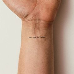 Your Time Is Limited Temporary Tattoo (Set of to make temporary tattoo crafts ink tattoo tattoo diy tattoo stickers Cute Ankle Tattoos, Dainty Tattoos, Pretty Tattoos, Unique Tattoos, Unique Small Tattoo, Awesome Tattoos, Back Ankle Tattoo, Small Travel Tattoo, Delicate Feminine Tattoos
