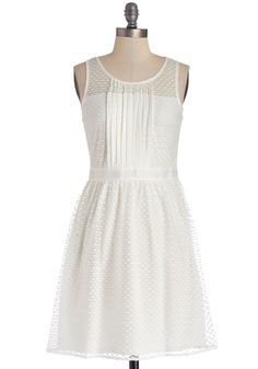 Illuminate Your Elegance Dress. Strands of twinkling lights decorate the outdoor terrace and illuminate your pretty white dress as you walk arm-in-arm with your love. #white #modcloth