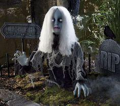 Animated Ghost Girl Halloween Prop Zombie Walking Dead Haunt House Decor Grave