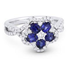1.64ct Oval Cut Sapphire & Round Brilliant Diamond Flower-Design Cocktail Ring in 18k White Gold - AlfredAndVincent.com