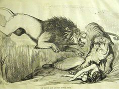 """This cartoon shows the degree to which """"Punch"""" wanted vengeance against the native troops, using the lion to represent England and the tiger to represent India."""