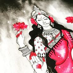 Goddess Lakshmi, Goddess Art, Big Canvas, Art Sketches, Watercolor Paintings, Modern Art, Disney Characters, Fictional Characters, Photo And Video