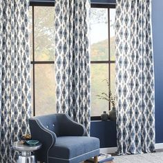 Casablanca cool. Inspired by the crisscross pattern of a Moroccan trellis, the Cotton Canvas Bazaar Curtain's old-world design is updated with a cool blue and gray palette.