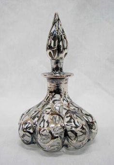 EXQUISITE Sterling Overlay 8 Lobe Perfume Bottles :