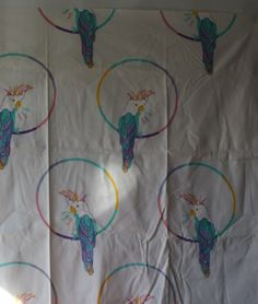 """Vintage Hello Polly Design Lilo Fabric Boras Sweden Parrots Linen 60""""wide x 39""""l"""