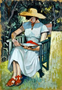 The Artist's Wife Reading, 1953,by Fyffe Christie (February 2, 1918 - March 6, 1979), UK