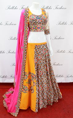 Reflect the true traditional essence of Indian culture by draping this Yellow Georgette Chaniya choli. Chaniya choli comes with Bandhej Multi Shade Duppata. Garba Dress, Navratri Dress, Traditional Blouse Designs, Traditional Outfits, Hi Fashion, Indian Fashion, Indian Dresses, Indian Outfits, Indian Clothes