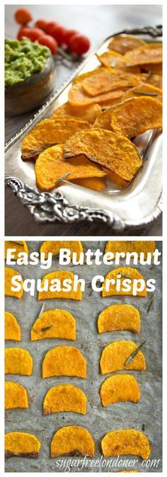 A delicious and healthy snack: Butternut squash crisps are a tasty, lower carb alternative to potato crisps/chips.