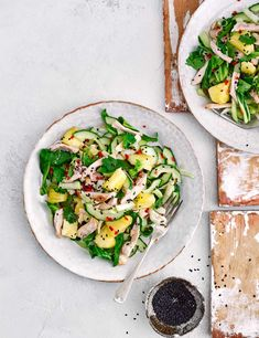 Give your midweek meal a healthy lift with our 15-minute shredded chicken salad with juicy pineapple and crunchy cucumber