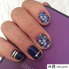Dying over this inspired mixed-mani by Val Schaefer @vals_jams Featuring the Sisters' Style exclusive for August, 'Perennial Blue' & paired with the Lakeside wrap & gold stripe accent stripes! Ok.. Now where do we get some of those gold stripes so we can recreate this look??!! #jamicuregoals