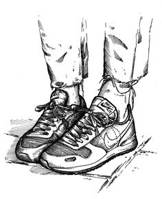 Sneakers on feet illustration.  #girlonkicks #nikeair #womft #illustration
