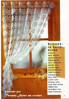 Beautiful curtain made of crochet circles with diagram