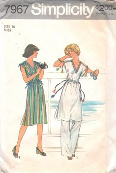 Simplicity 7967 1970s Misses Pants and Pullover Dress Tunic Pattern Womens  Vintage Sewing Pattern Size 16 Bust 38 UNCUT 10c2e8e3b
