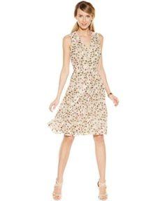 Anne Klein Printed Chiffon Faux-Wrap Dress