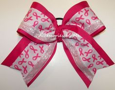 "Breast Cancer Awareness Hot Pink White Glitter Ribbon Big Cheer Bow Big & Full 3 Ribbon Bow 7"" wide with 5"" tails attached to a ponytail holder elastic. 3 Ribbon Widths 3"", 1.5"" & 5/8"" **We will Donat"