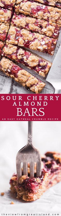 Sour Cherry Almond Bars ~ these brown sugar and oatmeal cherry almond bars are officially my new favorite sweet snack! The cherries are nice and tart, the almond scented crumble dough is chewy and butterscotch-y ~ these are a must make! #dessert #cherries #sourcherries #cherrybars #cherrycake #sherrysquares #cherrycrumble #coffeecake #cake #sourcherryrecipe