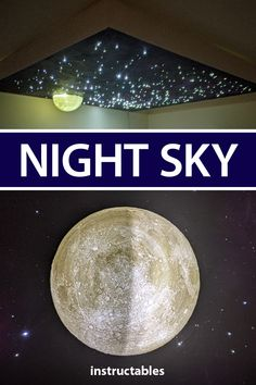 This decorative night sky display is made up of a painted canvas with illuminated stars and a glowing 3D printed moon. #Instructables #home #decor #lighting #3Dprint Starry Ceiling, Sky Ceiling, Starry Night Sky, Night Skies, Home Projects, Projects To Try, Living Room Sofa Design, Painted Canvas, Bright Stars