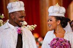 As an extraordinary symbolic representation of their marriage, an Ethiopian couple wears a crown along with a robe as a wedding tradition.