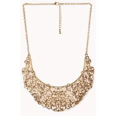 FOREVER 21 Antiqued Cutout Filigree Necklace (£3.68) ❤ liked on Polyvore featuring jewelry, necklaces, antic gold, cut out necklace, gold necklace, yellow gold necklace, chains jewelry and chain bib necklace