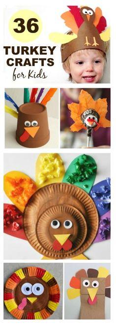 36 ADORABLE TURKEY CRAFTS FOR KIDS- so many fun ideas! Pin!  #turkeycrafts #Thanksgivingcrafts #KidsCrafts