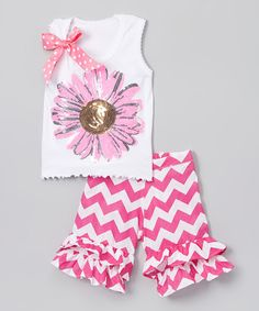 This White Daisy Tank & Hot Pink Chevron Shorts - Toddler & Girls is perfect! #zulilyfinds