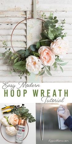 Make this easy, DIY spring wreath for your front door. The choices for artificial flowers, succulents, ribbons are endless, thus the hard part is choosing your floral supplies. I have been swooning over those metal hoop wreaths so I am going to…Read Diy Spring Wreath, Diy Wreath, Wreath Ideas, Modern Wreath, Floral Hoops, Floral Supplies, Wreath Tutorial, Front Door Decor, How To Make Wreaths