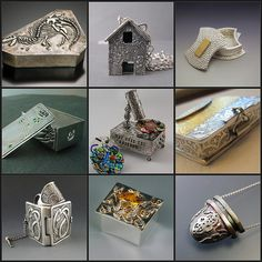 1. Cretaceous Box, 2. Haunted and Abandoned Fine Silver House, 3. Metal Clay Class Project Sample:  Reversible Pendant and Box, 4. Maria Lucia's box, 5. 4 Way Over the Rainbow Musical Kaleidoscope Front AA-R, 6. hinged box pendant with keum-boo - clasp, 7. Book of Kells: Arach (Dragon), 8. DSC_0180, 9. Inro2  Created with fd's Flickr Toys
