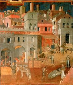 commerce and business (Lorenzetti) Fresco, Tempera, Medieval Fair, Italy Architecture, Mural Painting, Romanesque, Sacred Art, Historical Pictures, Renaissance Art