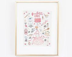 Watercolor Cake Print, Funfetti Cake, Cake Art, Illustrated Recipe, Recipe Print, Kitchen Decor, Recipe Art, Bakery Art, Watercolor Print