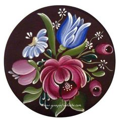 Atelier Gina Pafiadache: Bouquet in Bauernmalerei + Risk ! Folk Art Flowers, Flower Art, Fabric Painting, Painting & Drawing, Rosemaling Pattern, Norwegian Rosemaling, Tole Painting Patterns, Russian Painting, Scandinavian Folk Art