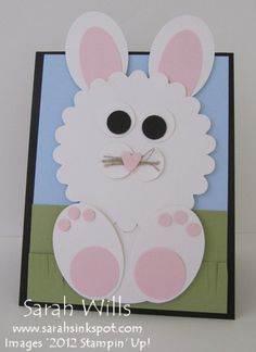 Cute bunny card - made using Stampin' Up!'s dies & punches