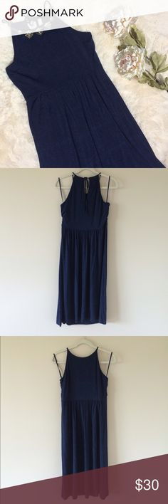"""LOFT Halter Midi Dress EUC halter midi dress from LOFT, only worn once. Ties behind neck. Soft rayon/spandex in a heathered navy color. Measures 44.5"""" long, 17.5"""" bust laying flat. Necklace not included. LOFT Dresses Midi"""