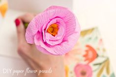 flower pencil, fabric flowers, flower centerpieces, diy crafts, diy tutorial, homemade gifts, beads, diy paper, crepe paper flowers