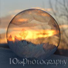 Bubble freezing in the sunrise