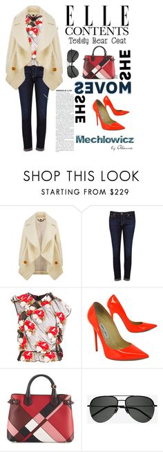 """""""Floral Fluffy"""" by mechlowiczgirl ❤ liked on Polyvore featuring Burberry, AG Adriano Goldschmied, Simone Rocha, Jimmy Choo, Yves Saint Laurent and teddybearcoats"""