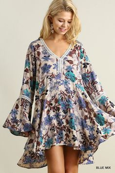 Umgee Floral Print A Line Dress featuring a V Neckline and Bell Sleeves