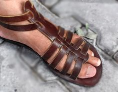 Handcrafted Leather Sandals, Handcrafted Gladiator Sandals, Unisex, Dark Brown or Black