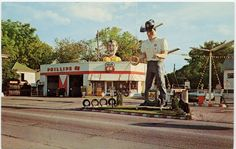 #Cowboy gas station - And talking about hats and boots...the #Vaughn'sPhillips 66 Gas Station in Fort Dodge, #Iowa, really has the wild west spirit with a giant cowboy guarding the driveway. With such a landmark, we bet this must have been everybody's favorite refuelling stop in the region.